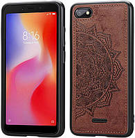 Чехол Embossed для Xiaomi Redmi 6A бампер накладка тканевый коричневый