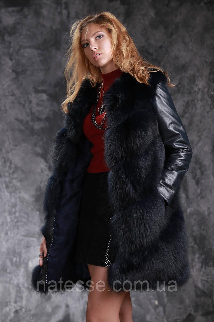 Шуба жилетка из темно синего финского песца с кожаными рукавами