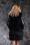 Шуба жилетка из темно синего финского песца с кожаными рукавами, фото 3