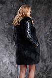 Шуба жилетка из темно синего финского песца с кожаными рукавами, фото 5
