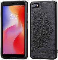 Чехол Embossed для Xiaomi Redmi 6A бампер накладка тканевый черный