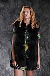 Шуба жилетка из темно синего финского песца с кожаными рукавами, фото 6