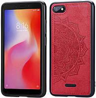 Чехол Embossed для Xiaomi Redmi 6A бампер накладка тканевый красный