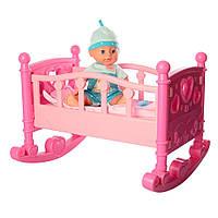 Кроватка для кукол 50 см YL2001D с пупсом 31 см, фото 1