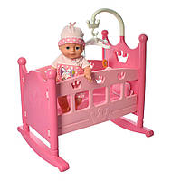 Кроватка для кукол 50 см YL2003D с пупсом 31 см