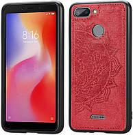 Чехол Embossed для Xiaomi Redmi 6 бампер накладка тканевый красный