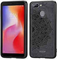 Чехол Embossed для Xiaomi Redmi 6 бампер накладка тканевый черный