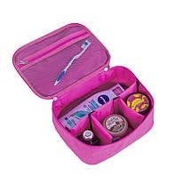 Вместительная дорожная косметичка со съемными перегородками Organize K016-pink розовая - 222109