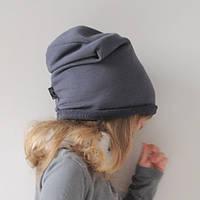 Новые демисезонные детские бини шапка чулок. Графит. ОГ 46, 48, 50, 52, 54 см, фото 1