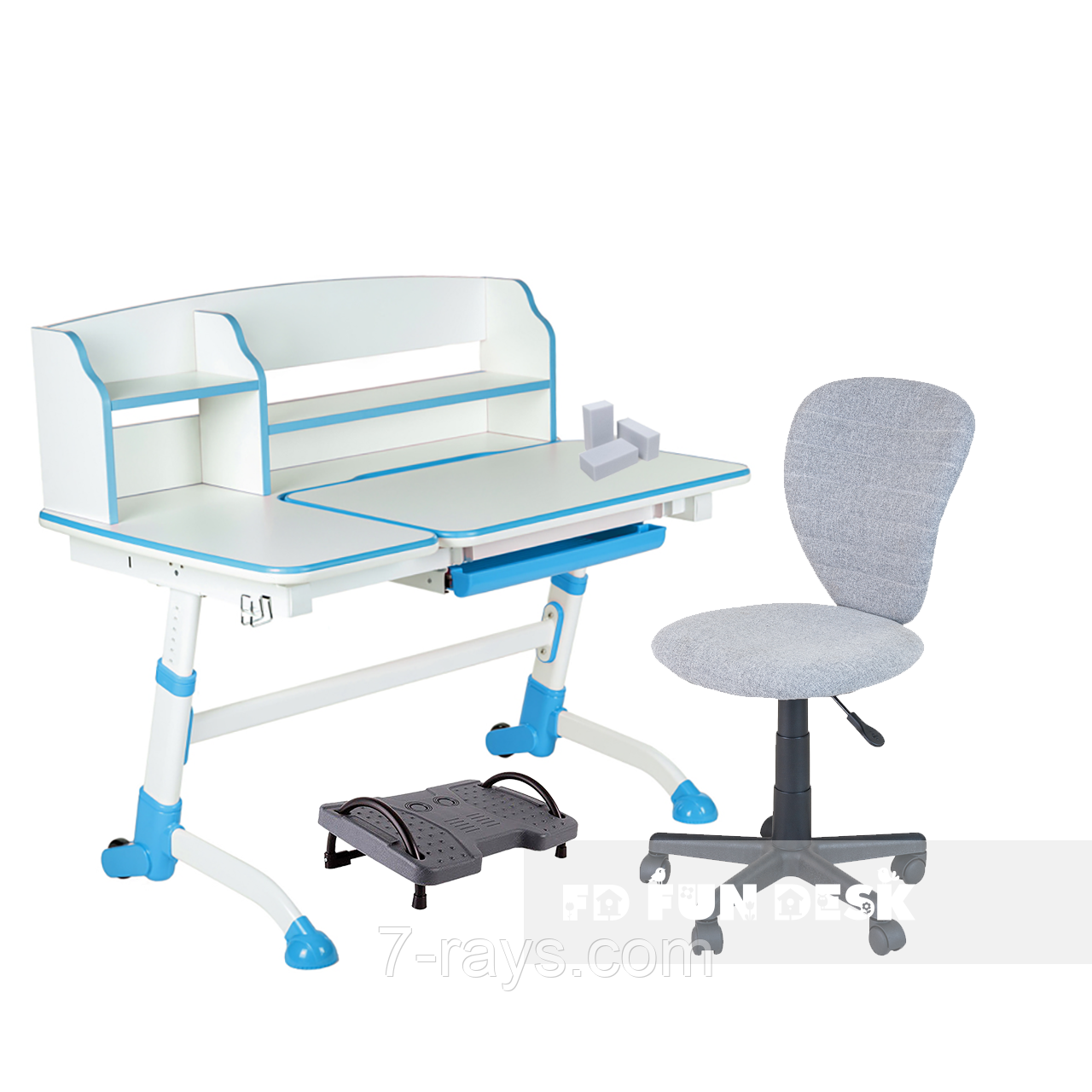 Комплект подростковая парта для школы Amare II Blue + ортопедическое кресло LST2 Grey FunDesk