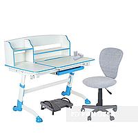 Комплект подростковая парта для школы Amare II Blue + ортопедическое кресло LST2 Grey FunDesk, фото 1