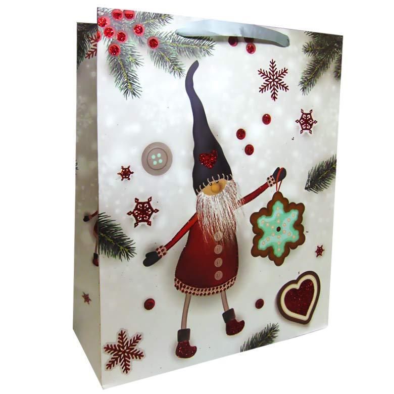 Пакет подарочный бумажный HP 26*32*12см Новогодний HP-646M-4