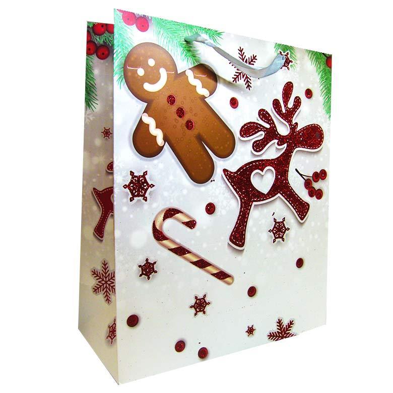 Пакет подарочный бумажный HP 26*32*12см Новогодний HP-646M-3
