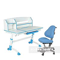 Комплект подростковая парта для школы Amare II Blue + ортопедическое кресло Bravo Blue FunDesk, фото 1