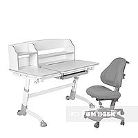 Комплект подростковая парта для школы Amare II Grey + ортопедическое кресло Bravo Grey FunDesk, фото 1