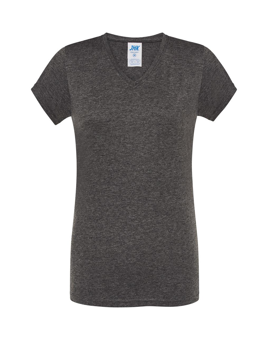 Женская футболка JHK COMFORT V-NECK LADY темно-серый HEATHER (CHCH)
