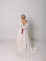 Классическое свадебное платье с вышивкой и рукавом, фото 3