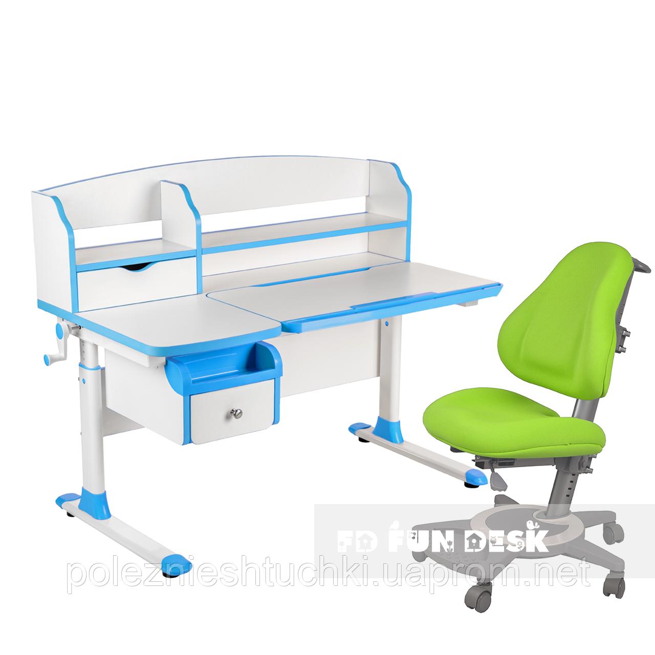 Комплект парта для подростка Sognare Blue + детское ортопедическое кресло Bravo Green FunDesk
