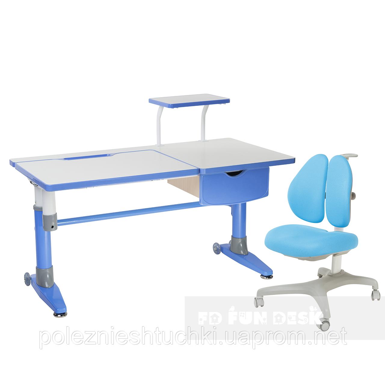 Комплект подростковая парта для школы Ballare Blue + ортопедическое кресло Bello II Blue FunDesk