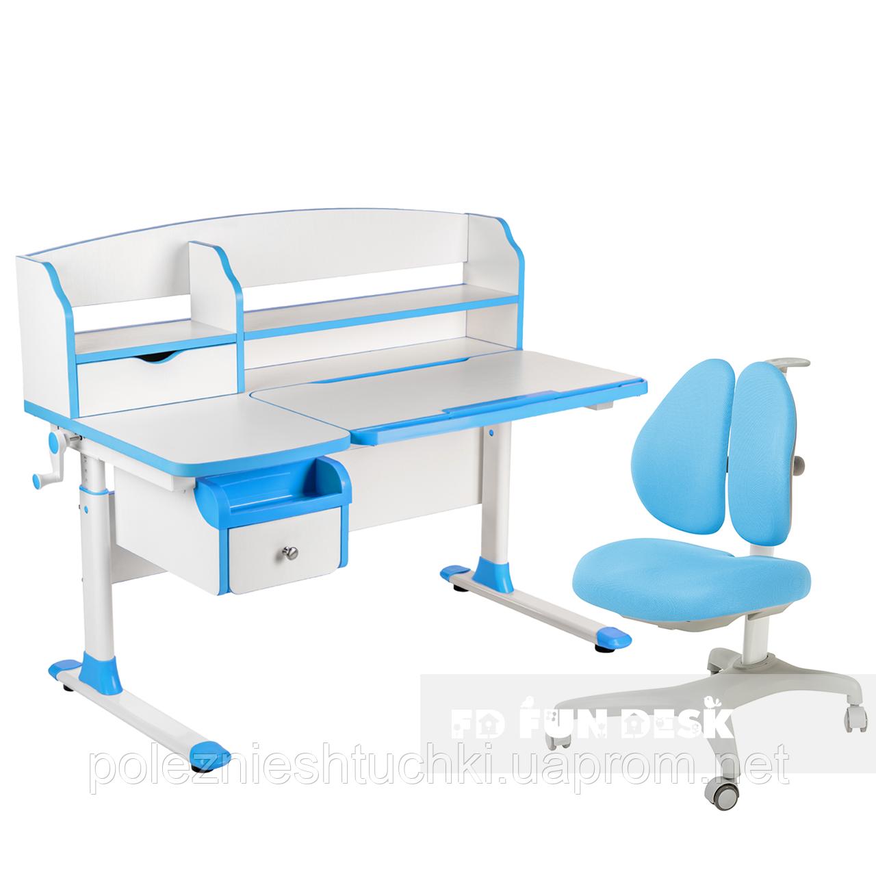 Комплект парта для подростка Sognare Blue + детское ортопедическое кресло Bello II Blue FunDesk