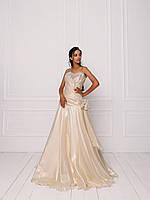 Свадебное платье из золотистой органзы с бисерной вышивкой, фото 2