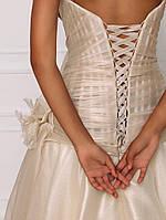 Свадебное платье из золотистой органзы с бисерной вышивкой, фото 3