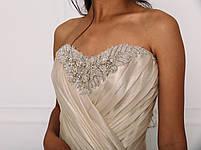 Свадебное платье из золотистой органзы с бисерной вышивкой, фото 5