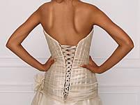 Свадебное платье из золотистой органзы с бисерной вышивкой, фото 4