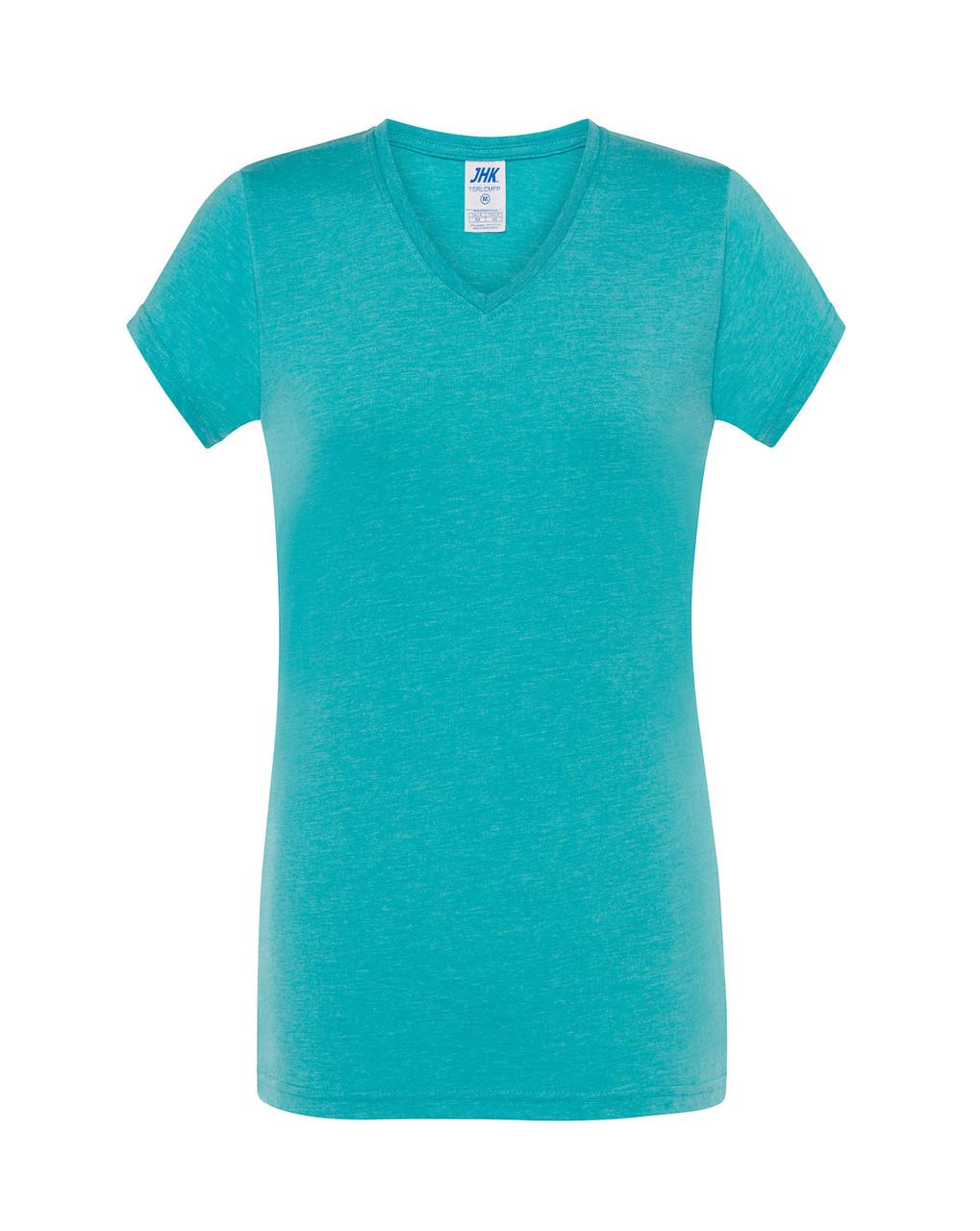Женская футболка JHK COMFORT V-NECK LADY цвет бирюзовый (TUH)