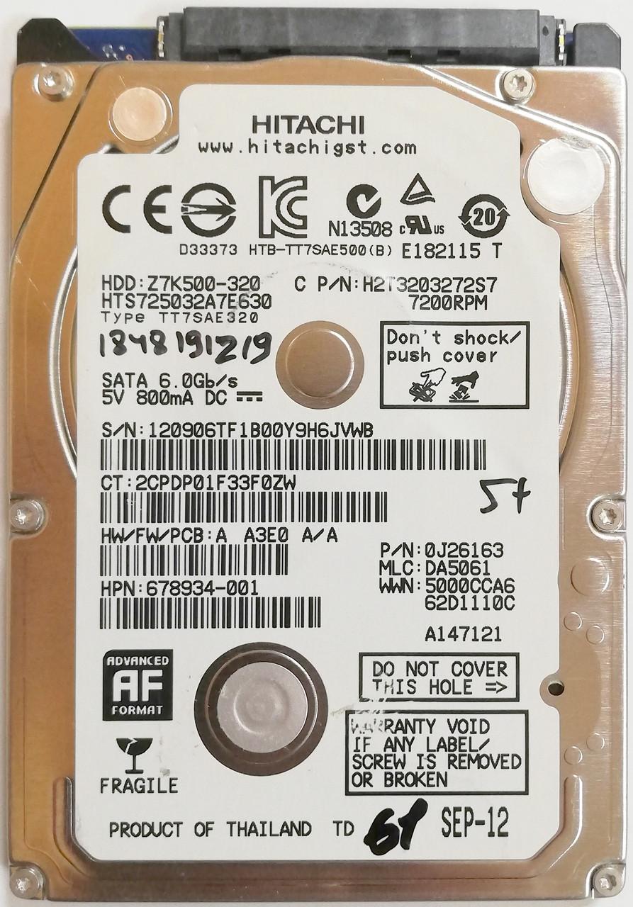 "Жесткий диск для ноутбука Hitachi Travelstar 320GB 2.5"" 32MB 7200rpm 6Gb/s (HTS725032A7E630) SATAIII Б/У"