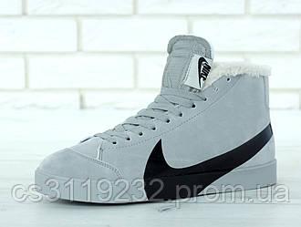 Жіночі кросівки Nike Blazer Mid Grey (хутро) (сірі)