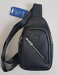 Мужская сумка слинг «Jeep» из экокожи черного цвета