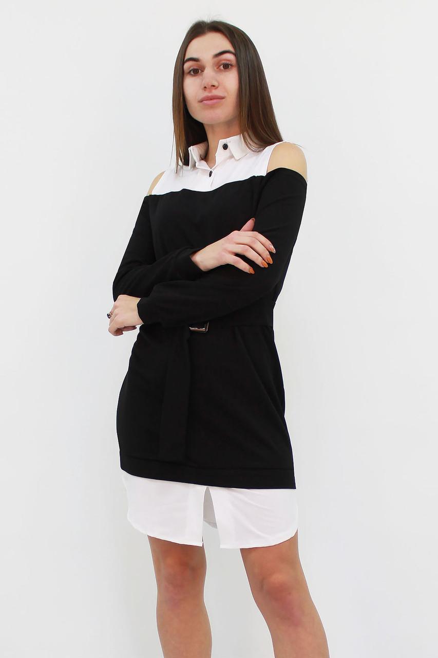 S, M, L   Комбіноване жіноче плаття Lilit, чорний