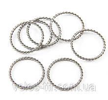 Коннектор кольцо Витое серебро 25х21 мм