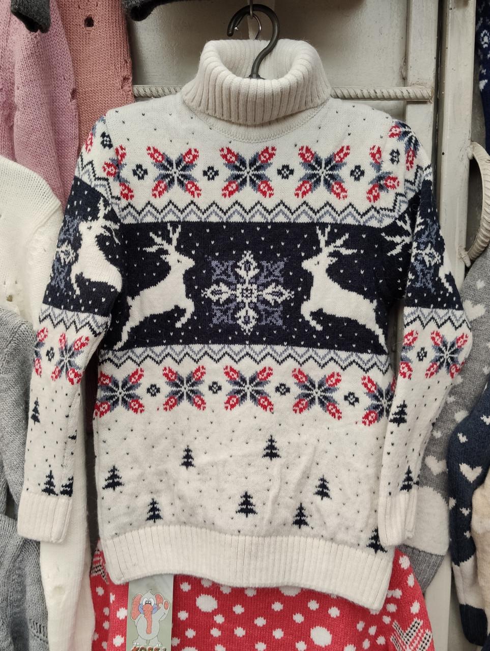 Вязаный свитер детский с оленями на мальчиков 6-7 лет
