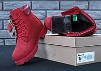 Женские зимние ботинки с мехом Timberland Red