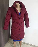 Бордовая теплая зимняя стильная куртка пальто на кнопках