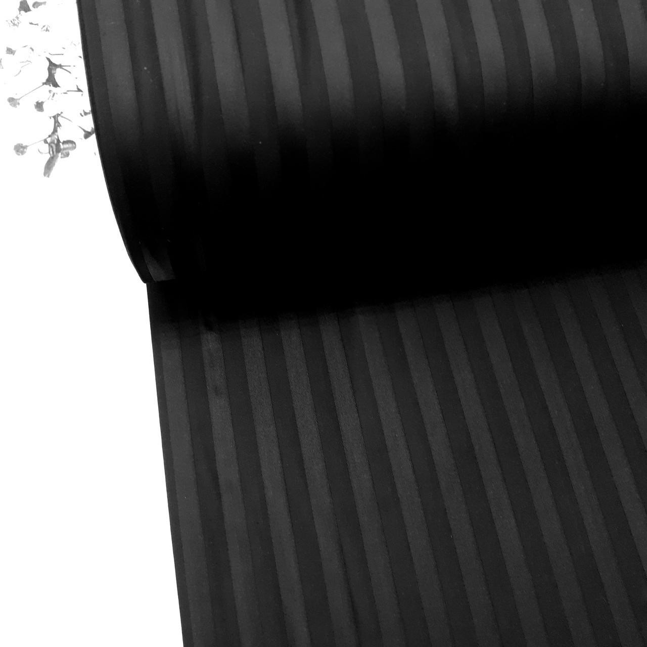 Сатин 100% хлопок  (ТУРЦИЯ шир. 2,4 м) Stripes черный ОТРЕЗ (размер 1,4,*2,4 м)