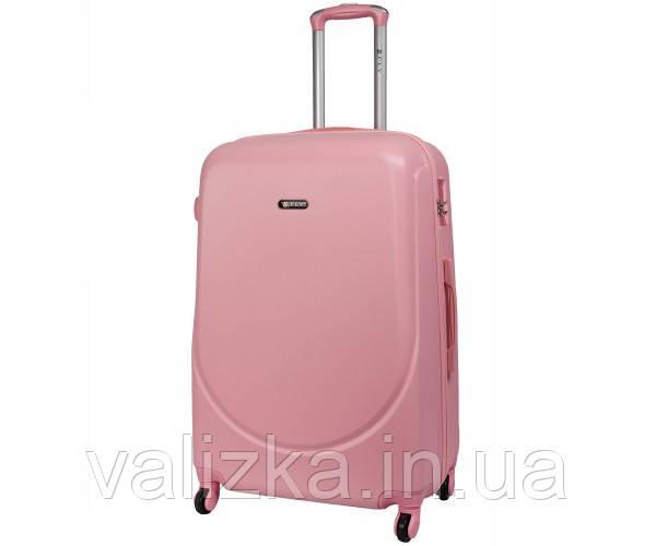 Большой пластиковый чемодан на 4-х колесах с фурнитурой в цвет светло-розовый