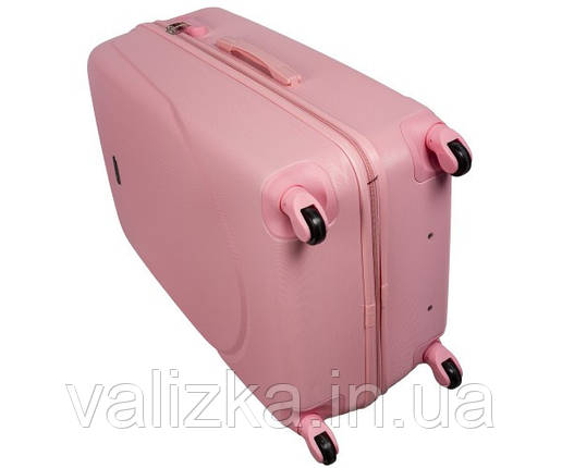 Большой пластиковый чемодан на 4-х колесах с фурнитурой в цвет светло-розовый, фото 2