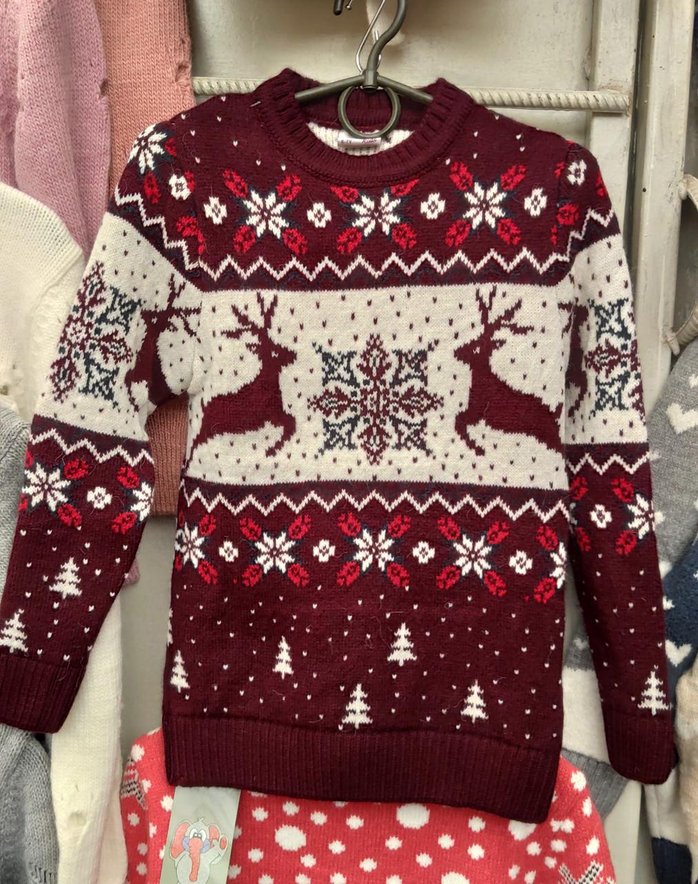 Красивый свитер с новогодним рисунком для девочек 6-11 лет Бегущие олени