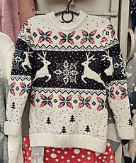 Красивый свитер с новогодним рисунком для девочек 6-11 лет Бегущие олени, фото 3