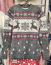Красивый свитер с новогодним рисунком для девочек 6-11 лет Бегущие олени, фото 2