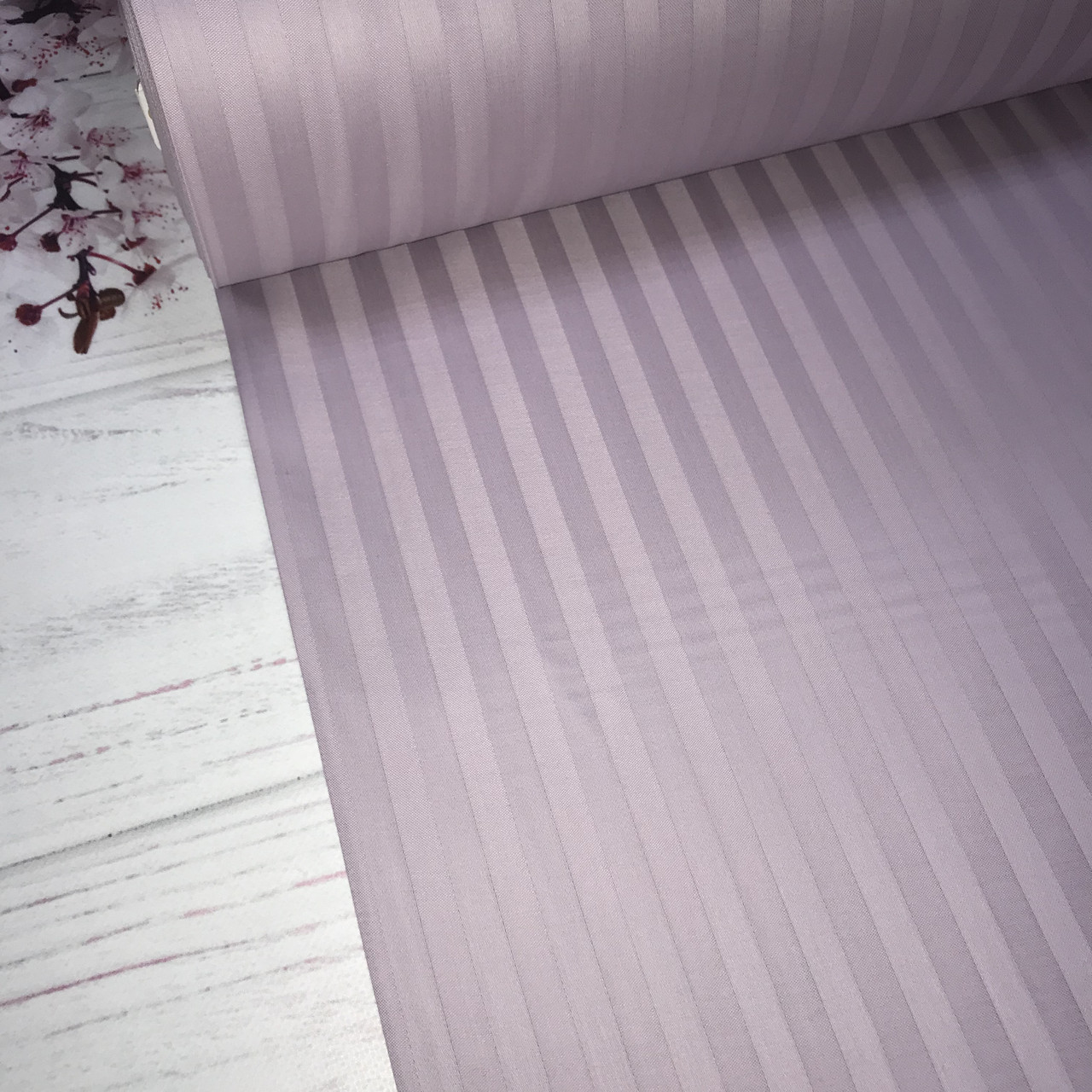 Сатин 100% хлопок  (ТУРЦИЯ шир. 2,4 м) Stripes сиреневый ОТРЕЗ(Размер 1,10*2,4м)
