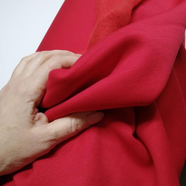 трикотажная ткань терехнитка с начесом красная, купить в нашем магазине
