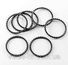 Коннектор кольцо Витое черный 25х21 мм