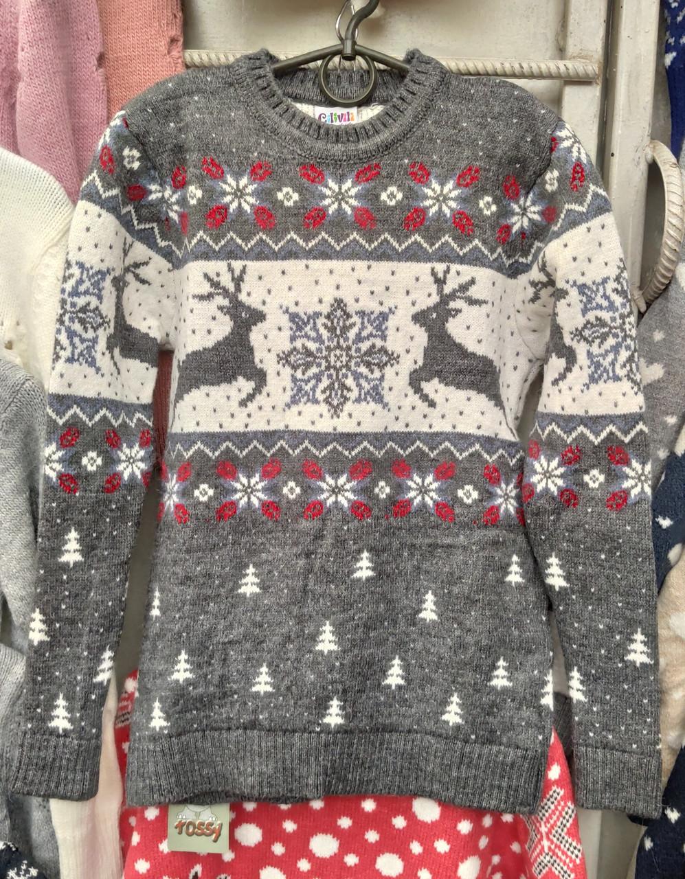 Вязаный свитер с оленями и снежинками для девочек 6-11 лет Бегущие олени