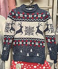 Вязаный свитер с оленями и снежинками для девочек 6-11 лет Бегущие олени, фото 3