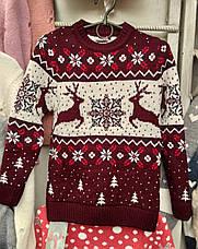 Вязаный свитер с оленями и снежинками для девочек 6-11 лет Бегущие олени, фото 2