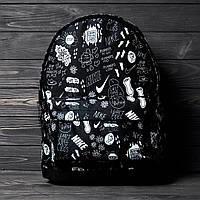 Стильный Школьный молодежный Рюкзак, портфель с принтом черный из текстиля для учёбы, городской